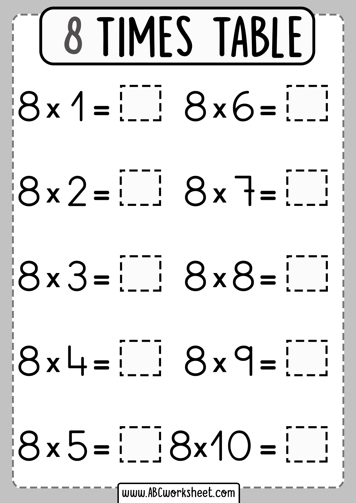 8 Eight Times Table Worksheet