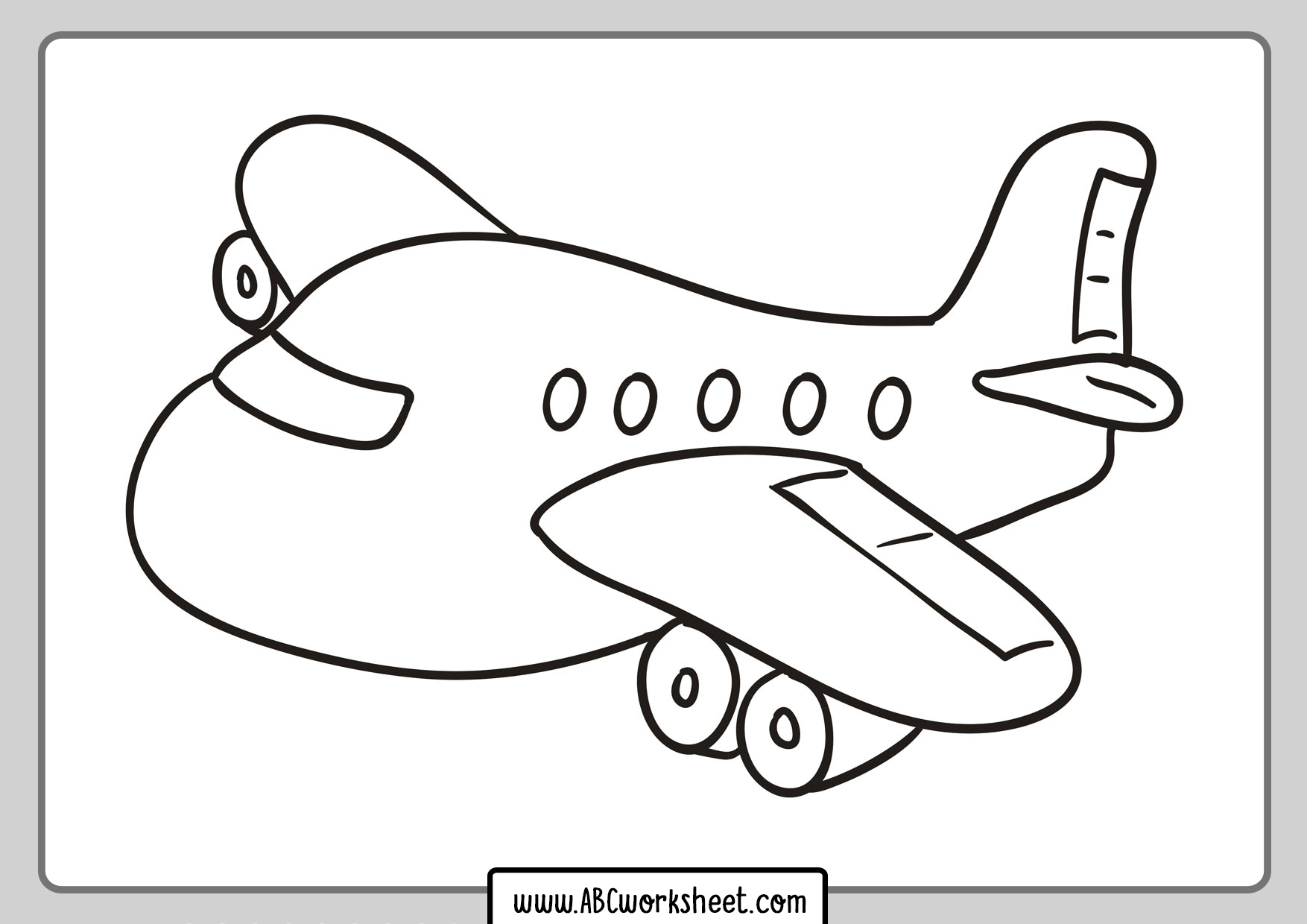 Airplane Coloring Page For Children