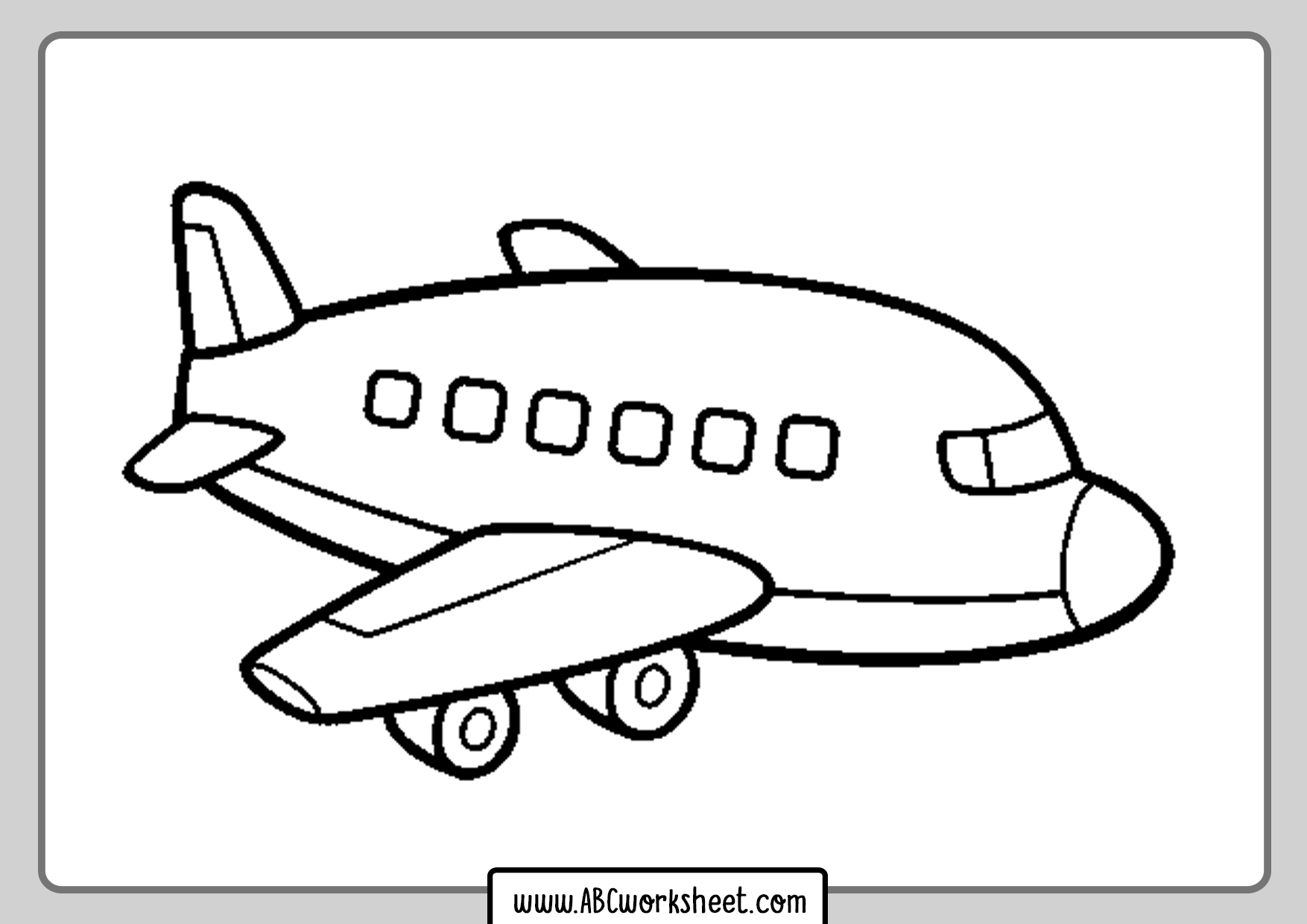 Airplane Coloring Page For Kids