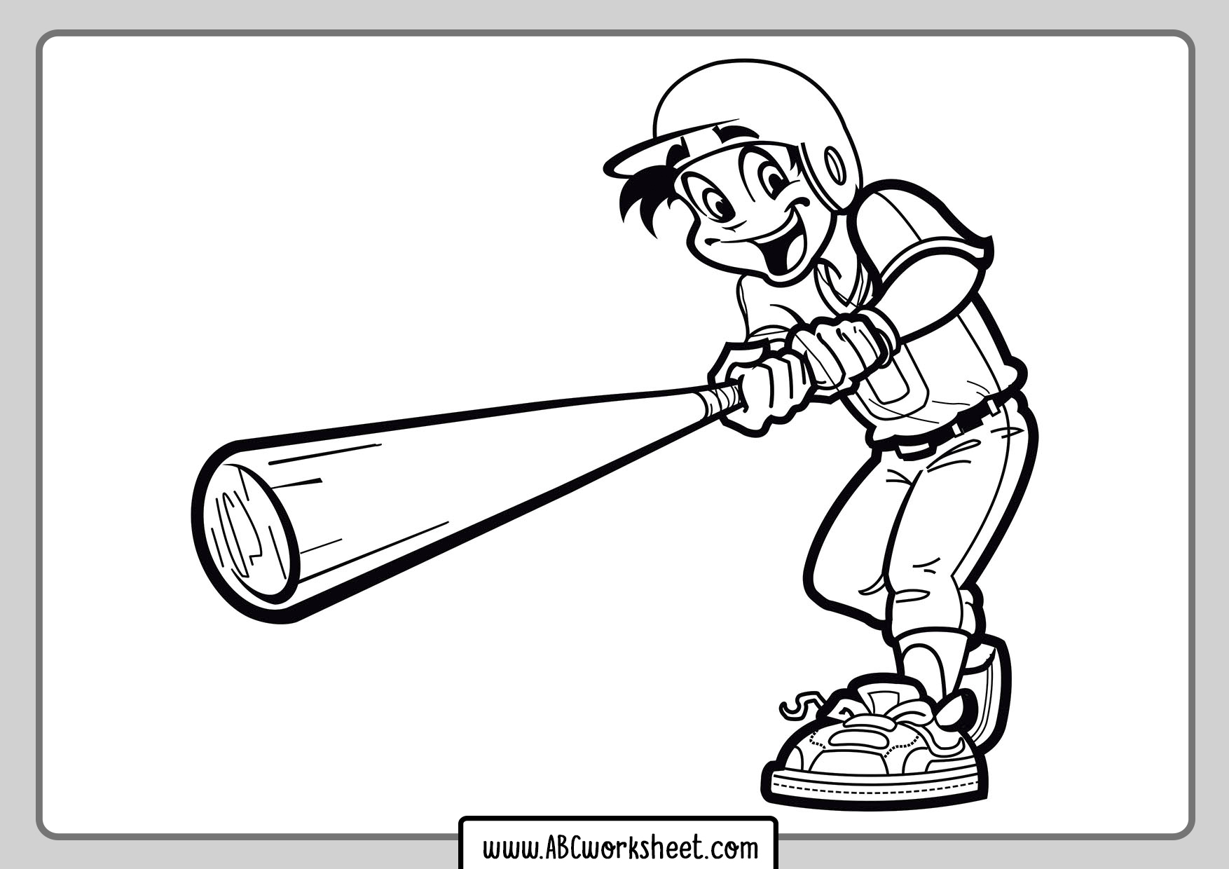 Baseball Player For Coloring