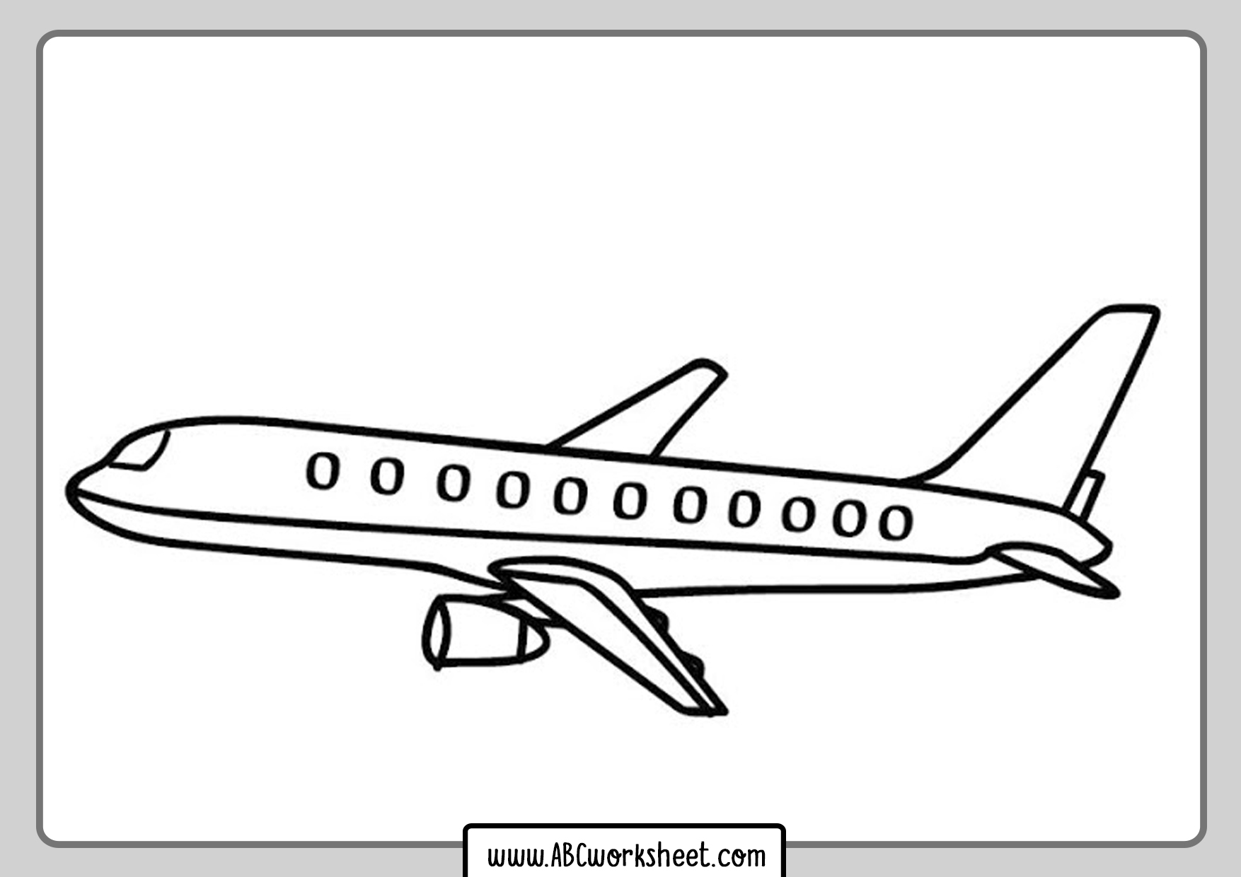 Comercial Airplane Coloring Page