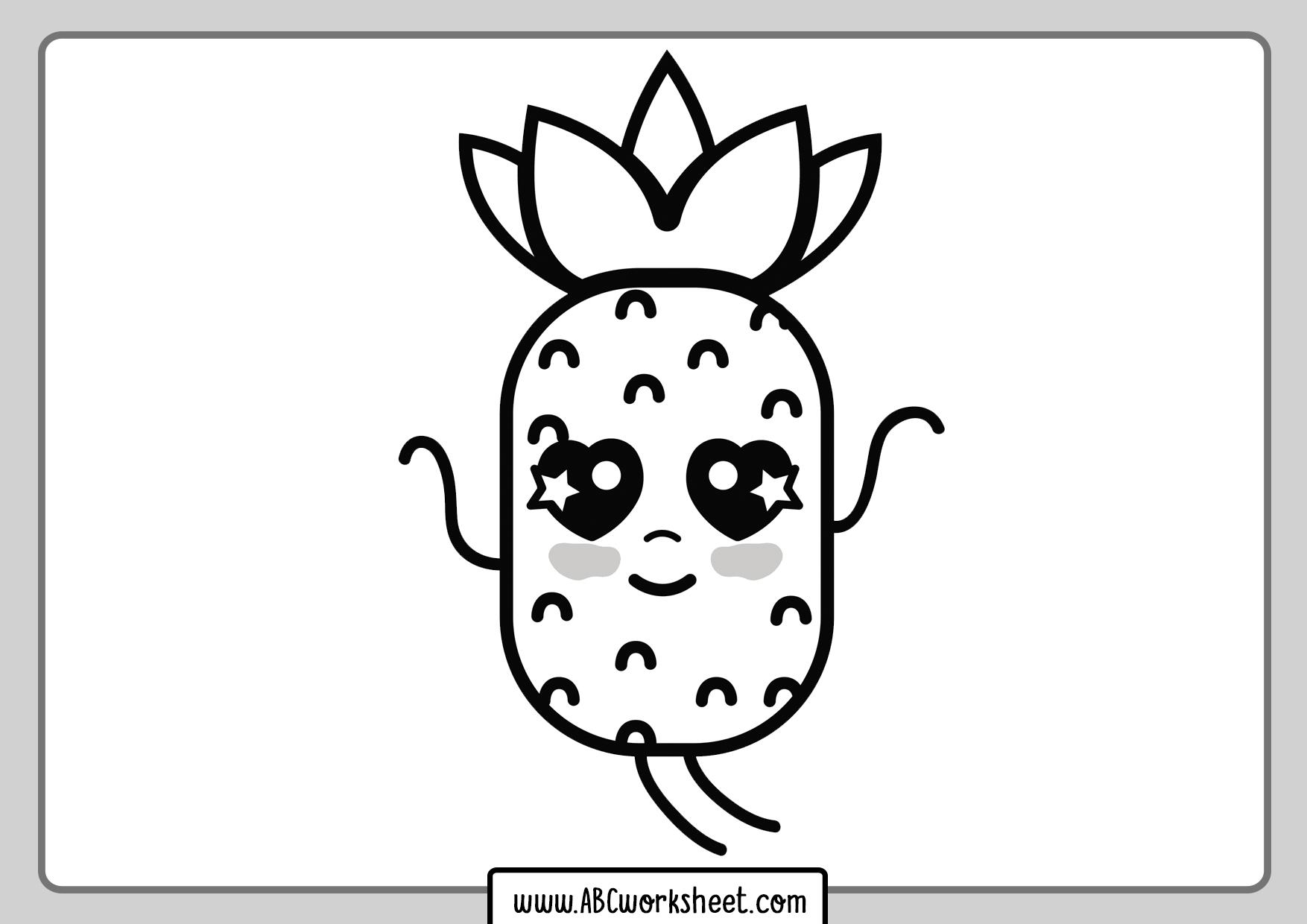 Kawaii Pineapple For Coloring