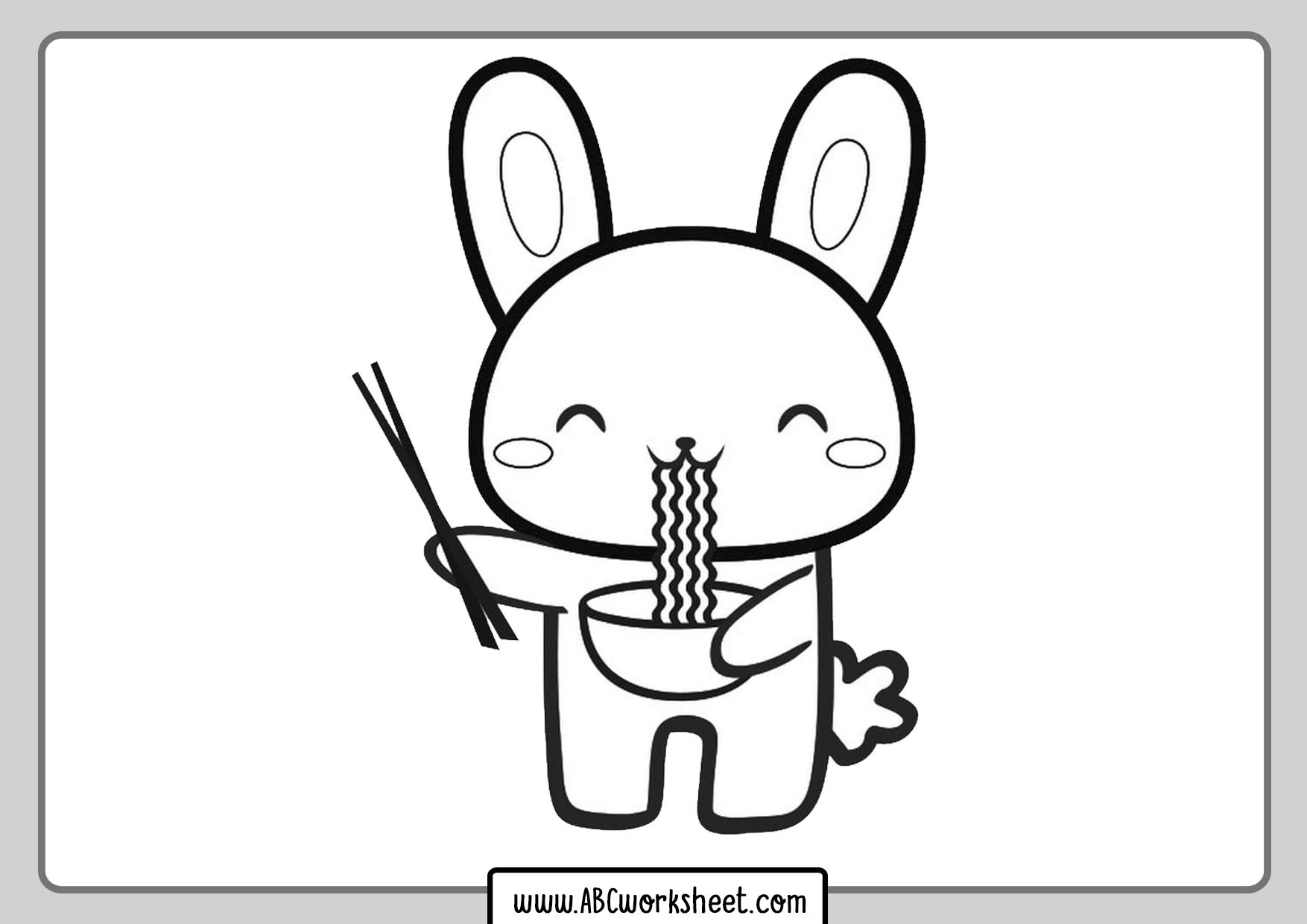 Kawaii Rabbit Coloring Page