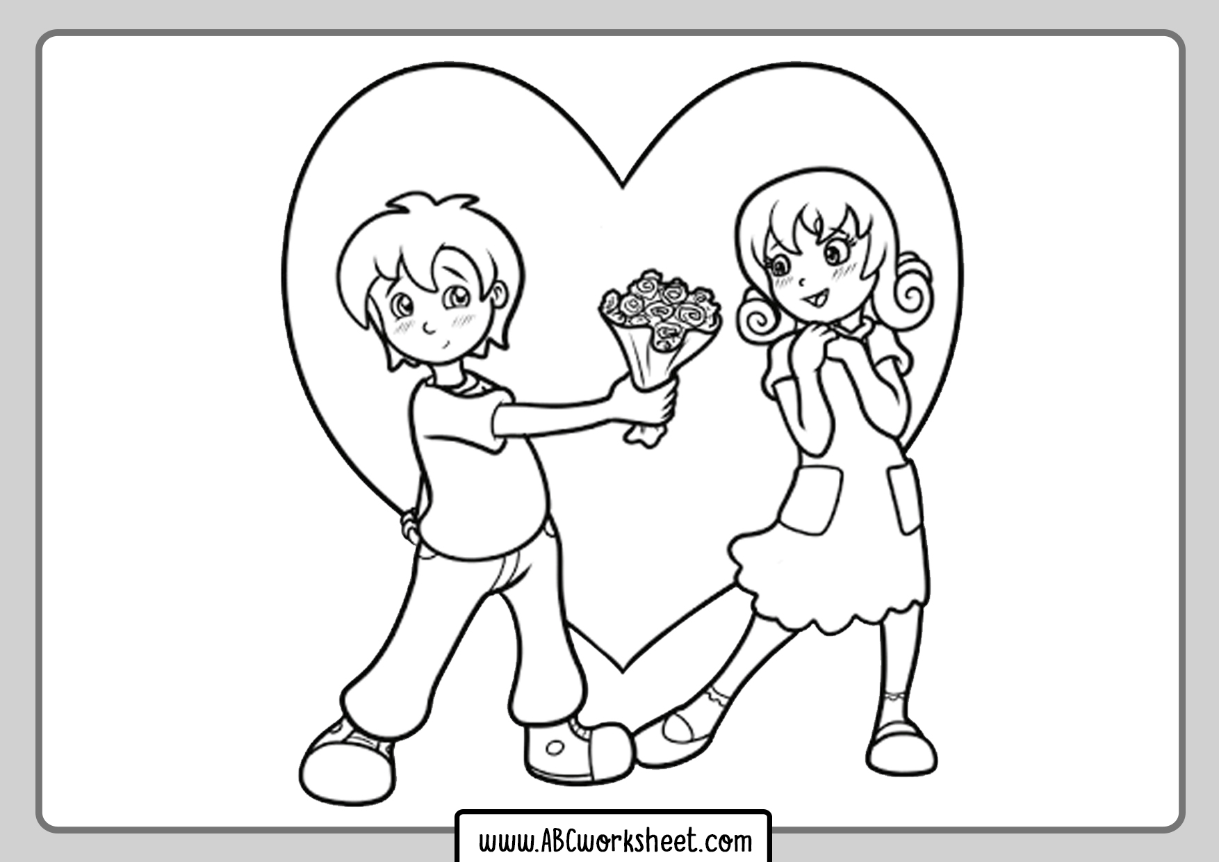 Kids In Love Coloring Page