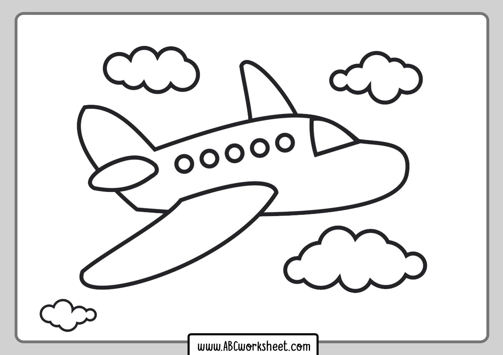 Kindergarten Airplane Coloring Page