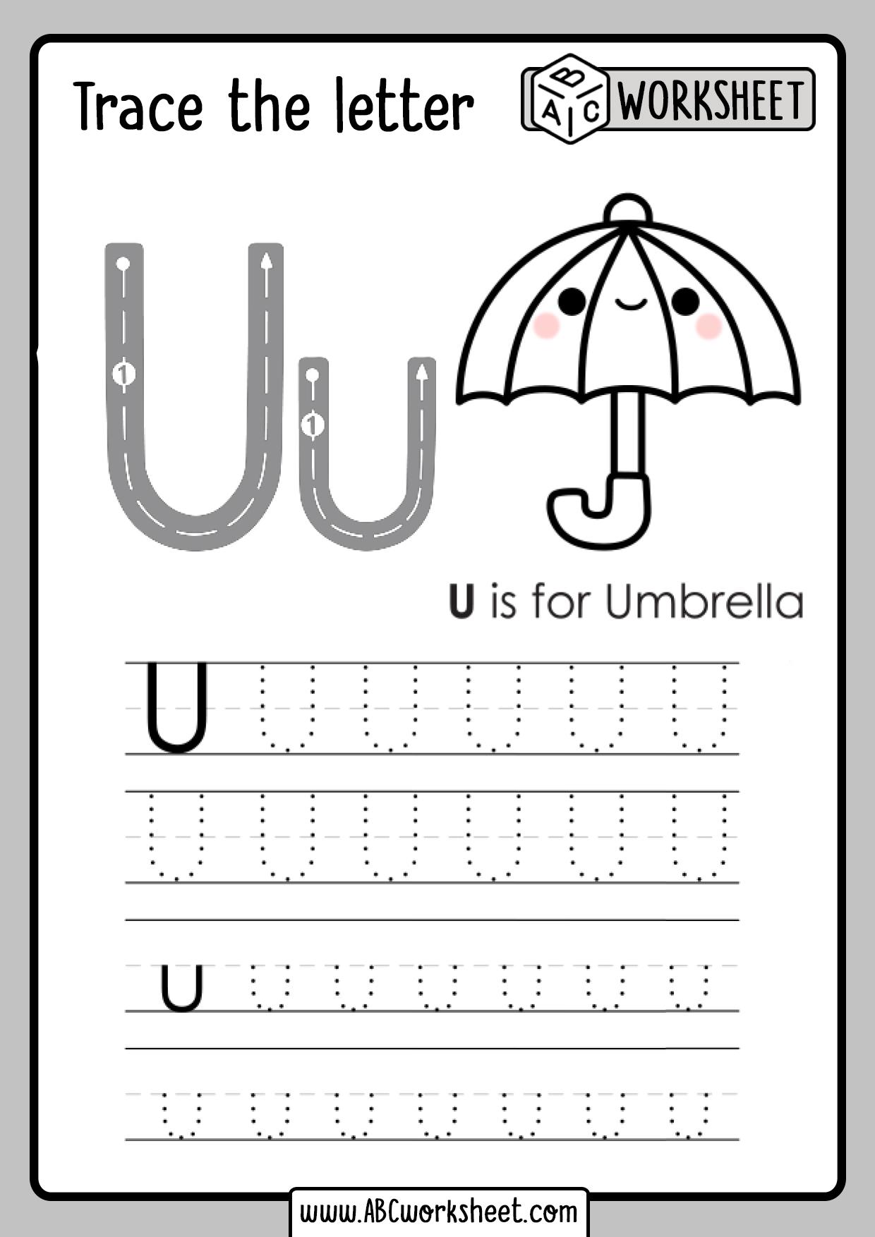 Letter U Tracing Worksheet