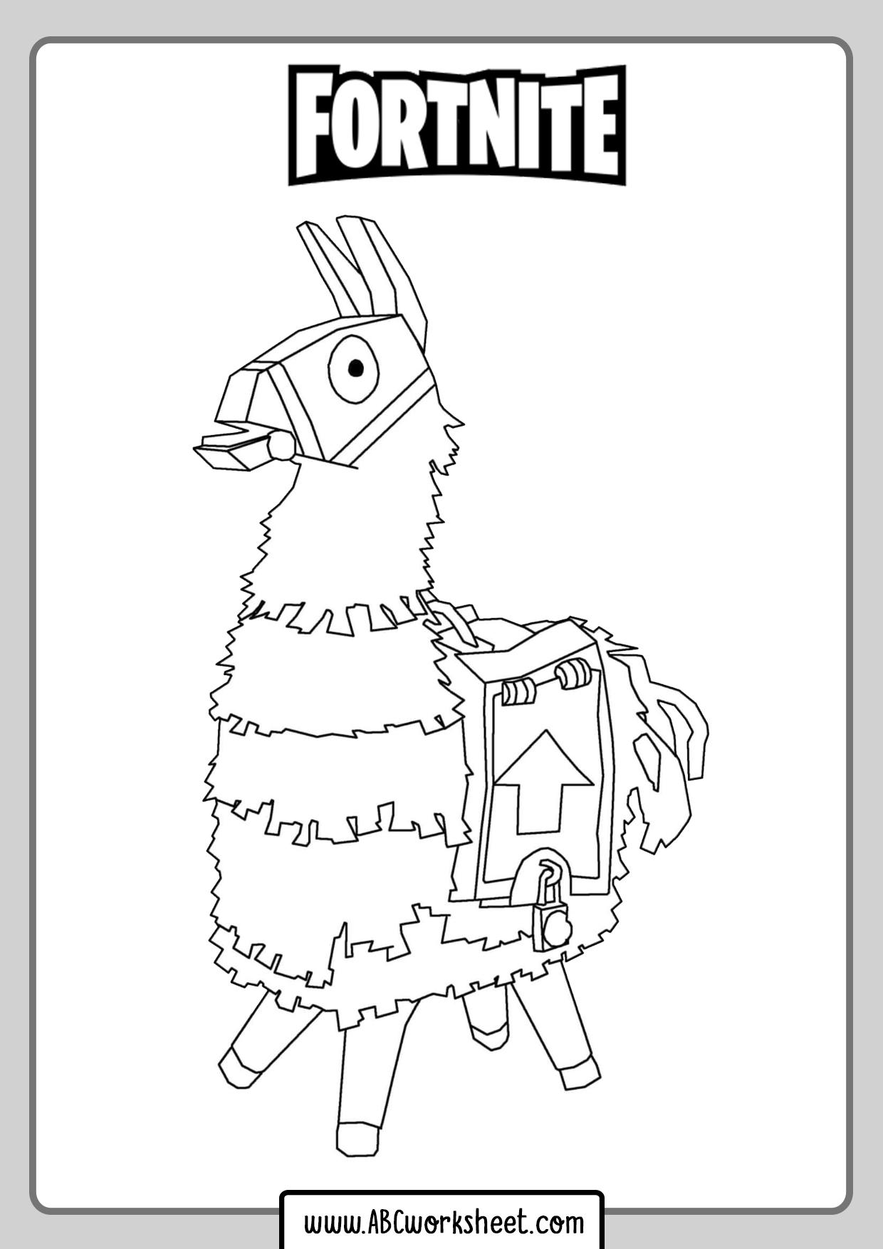 Llama Fortnite Coloring Page