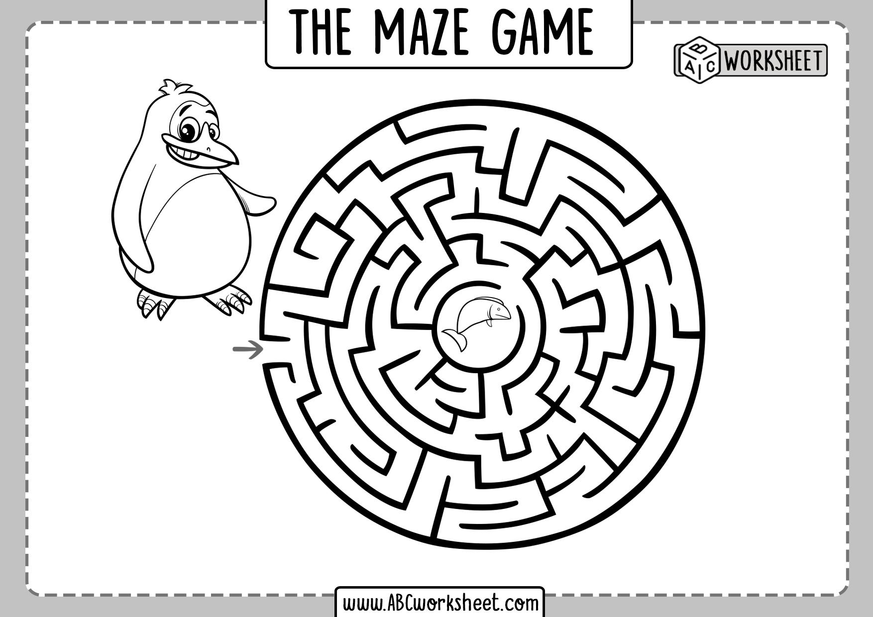 Pencil Maze Worksheets Kids