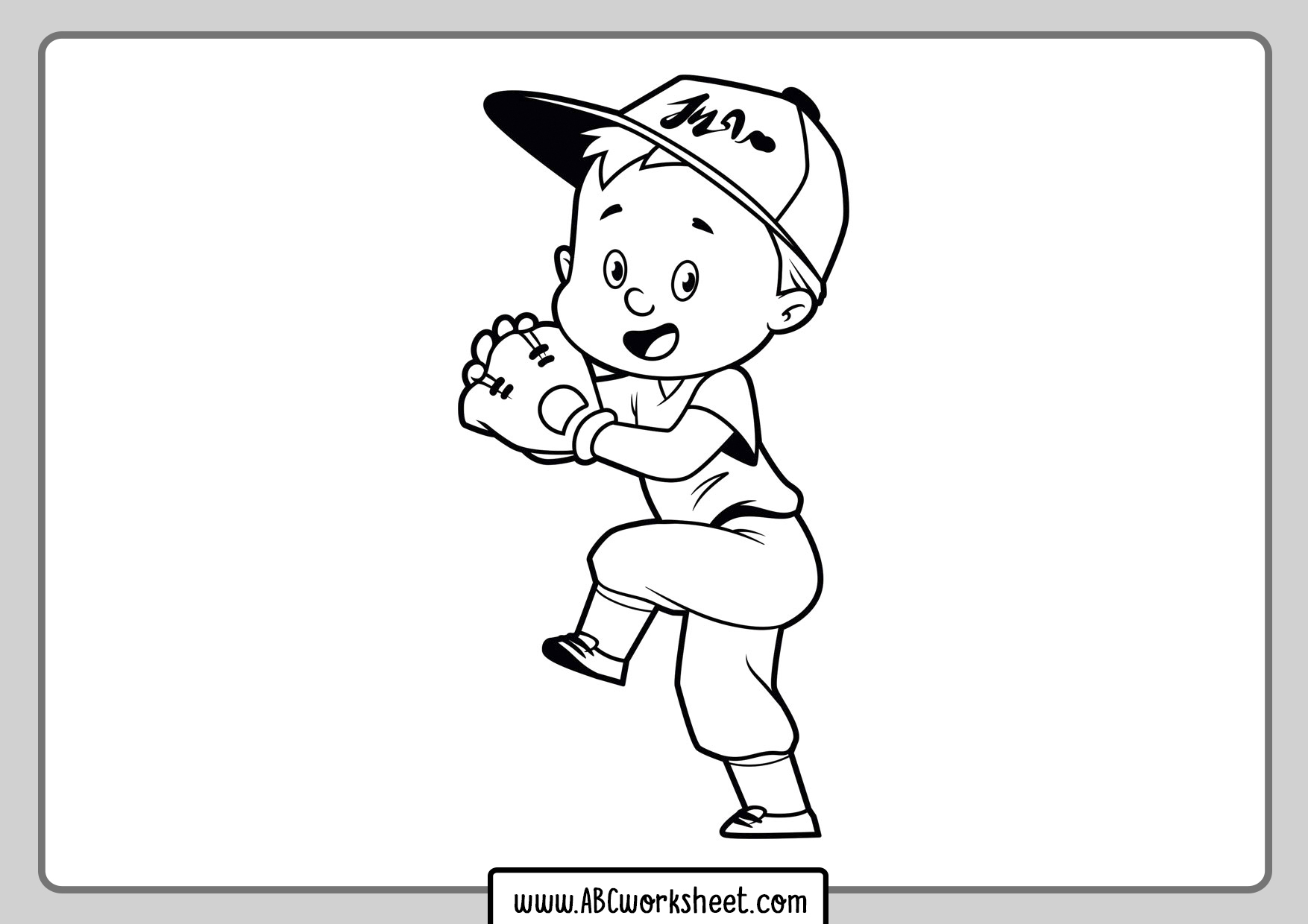 Playing Baseball For Coloring Page