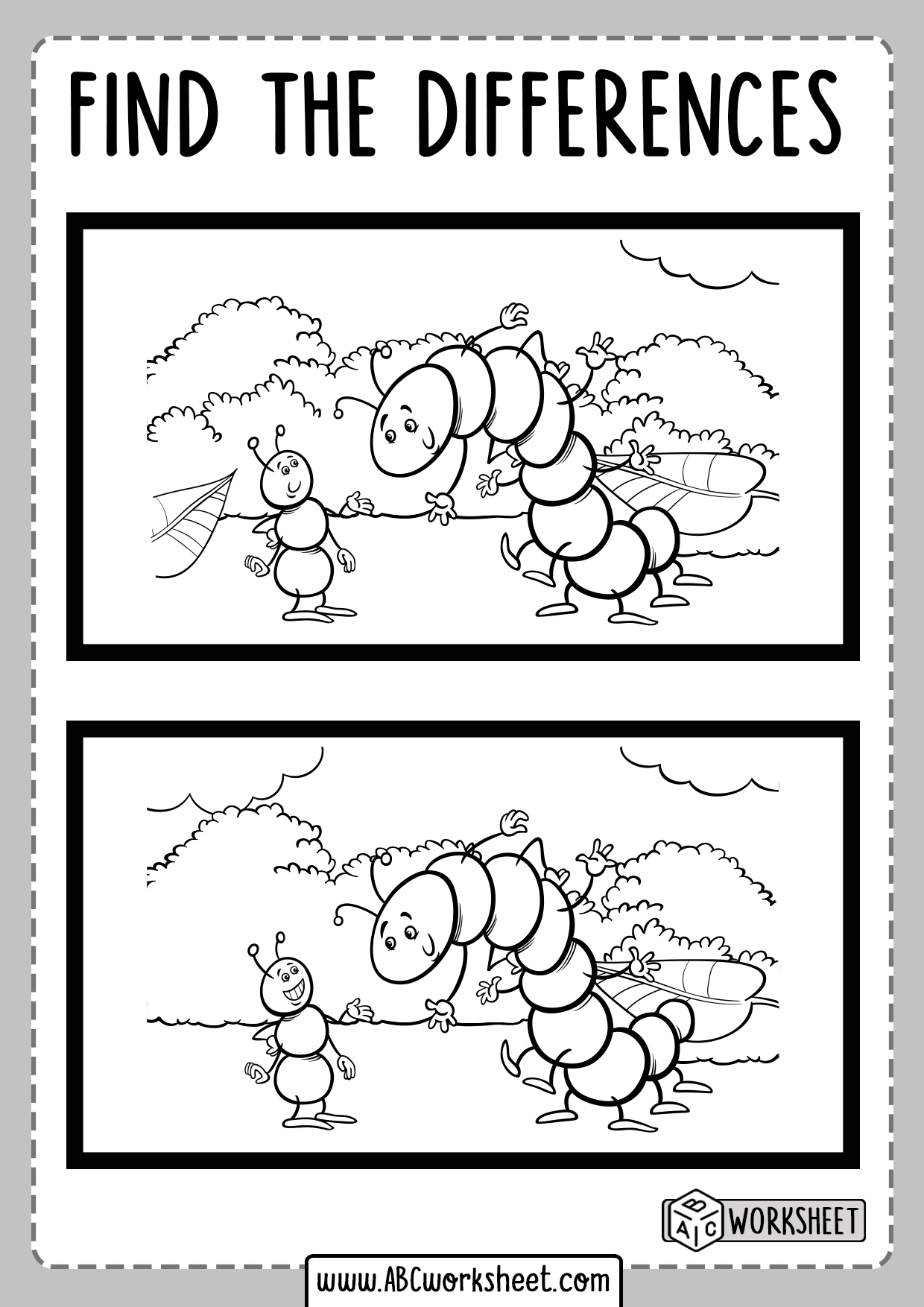 Spot The Difference For Kids Worksheet
