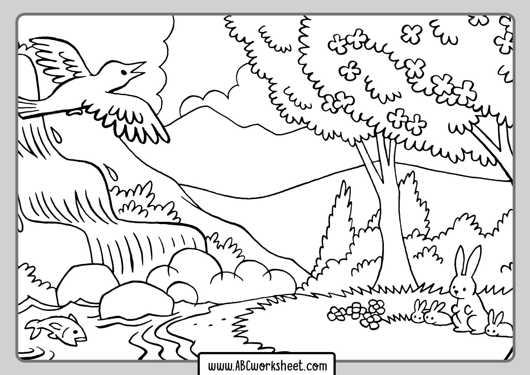 The Forest Landscape Coloring Page