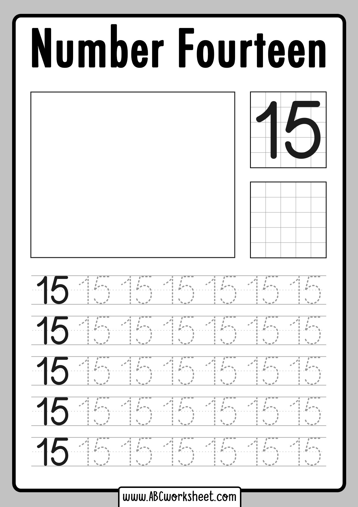 Tracing Number 15 Worksheet