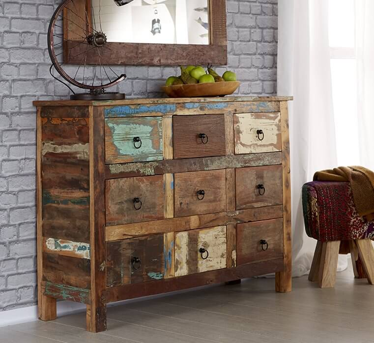 coastal 9 drawer chest rustic reclaimed wood