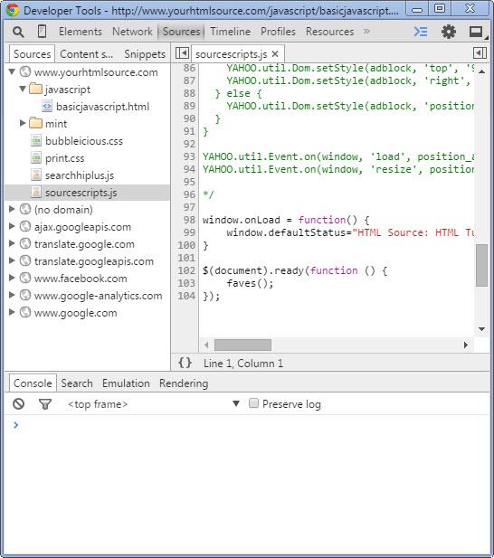 Chrome Inspector: Editing and Debugging Javascript