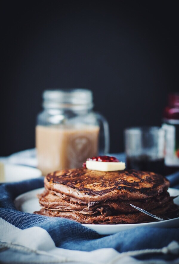 Chocolate Raspberry Swirl Pancakes | bloggingoverthyme.com
