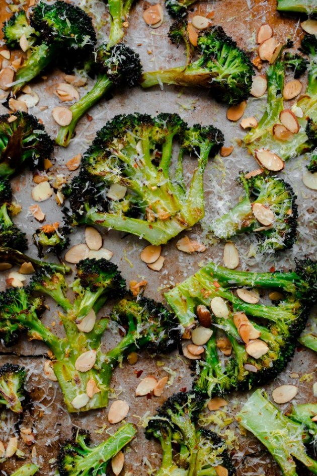 Crack Brocoli. Roasted broccoli with toasted almonds, lemon, red pepper flakes, and pecorino. This side dish is so addicting!