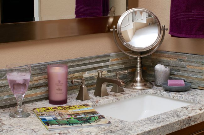 Decorating vanity with candles