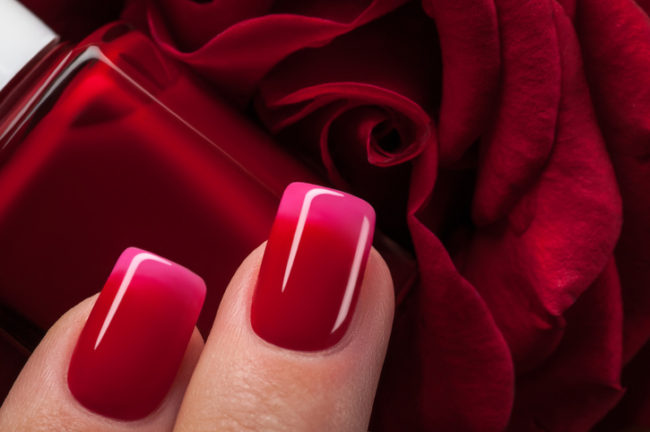red ombre nail design