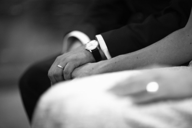 black and white candid marriage ceremony