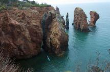 Kayaking in Cape Chignecto Provincial Park in the Bay of Fundy, Nova Scotia, Canada.