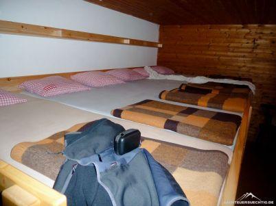 Das Bettenlager im Gimpelhaus war in dieser Nacht noch leer