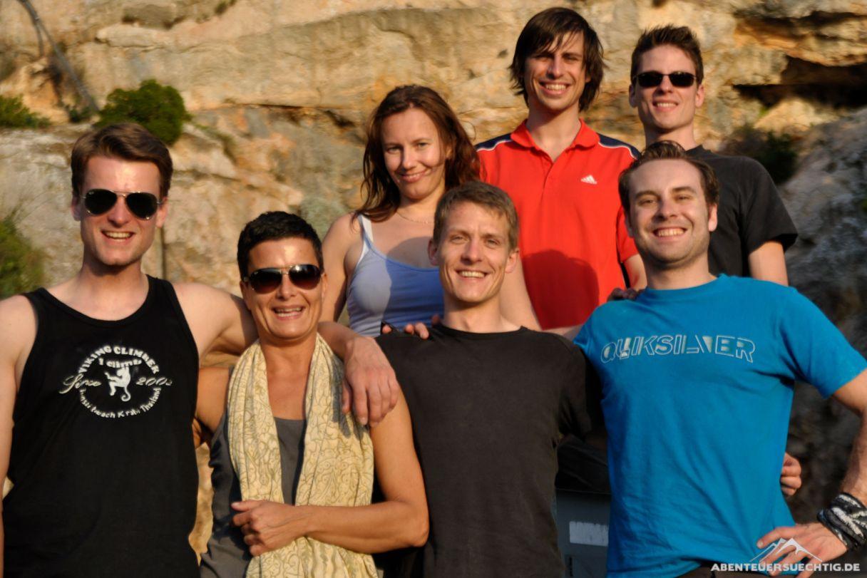 Das Kletterteam! Nur unsere Fotografin Bine fehlt.