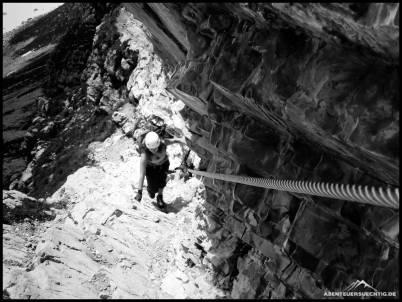 Eine der leichteren Stellen im Mindelheimer Klettersteig