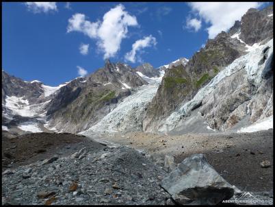 Hier hält man sich am besten schon einmal weiter links, damit man die Gletscherspalten weiläufig umgehen kann.