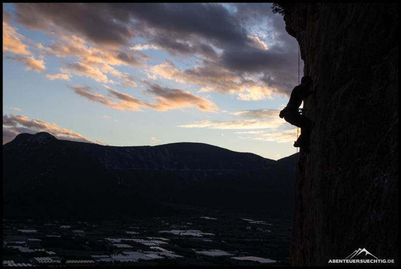Klettern bis in den Sonnenuntergang.