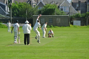 Stuart bowls to Tranent's Craigmyle in Small Clubs Cup