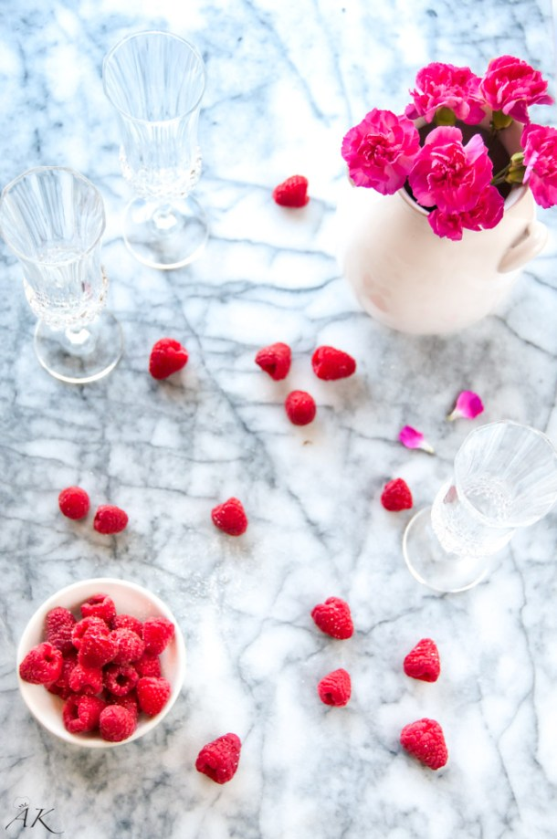 Sugared Raspberries and Flowers