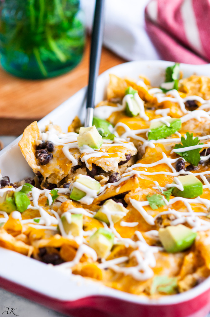 Vegetarian Black Bean Chilaquiles Casserole