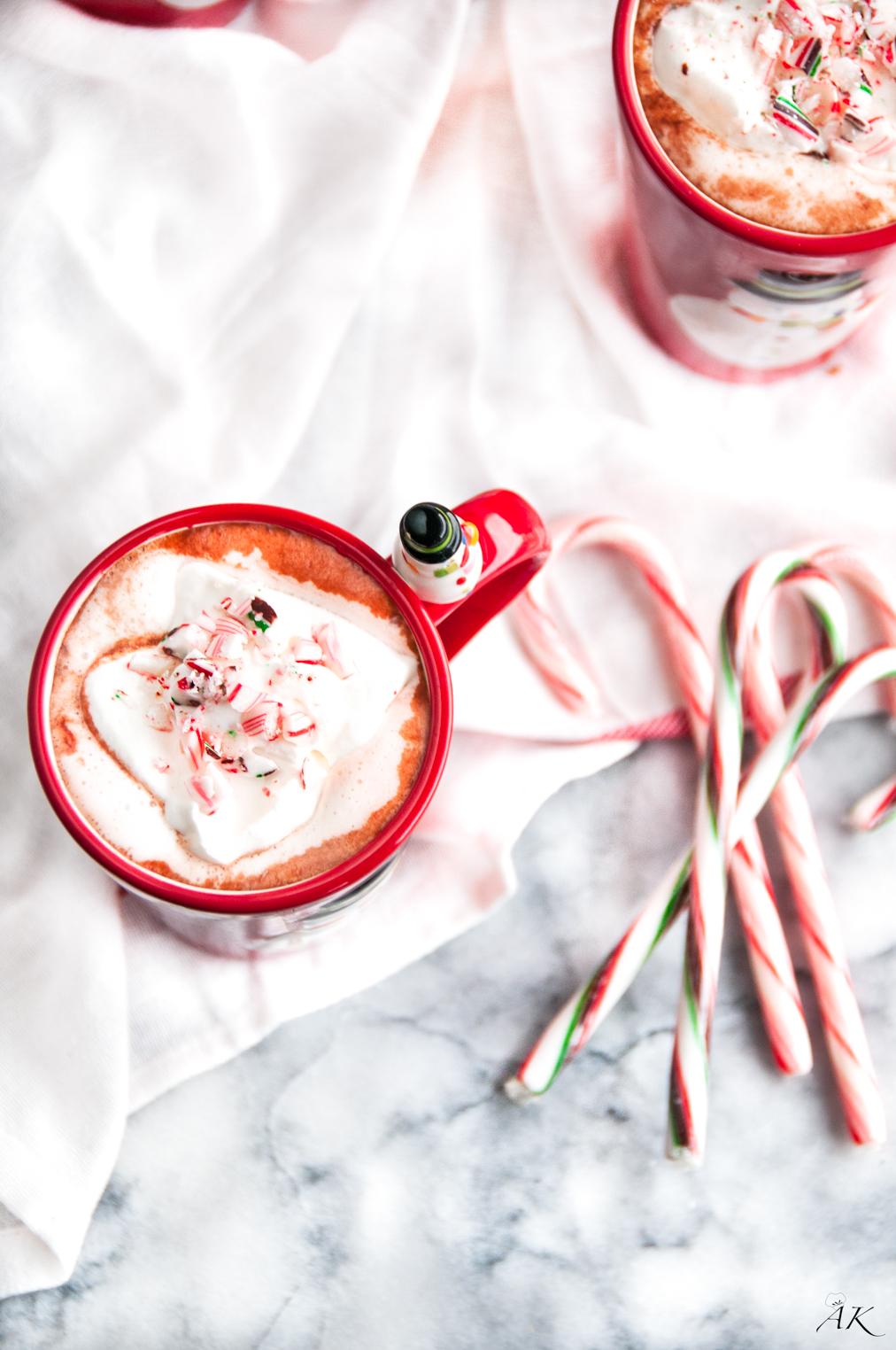 Homemade Drunken Peppermint Hot Chocolate