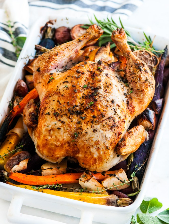 Lemon Roasted Apple Chicken and Veggies