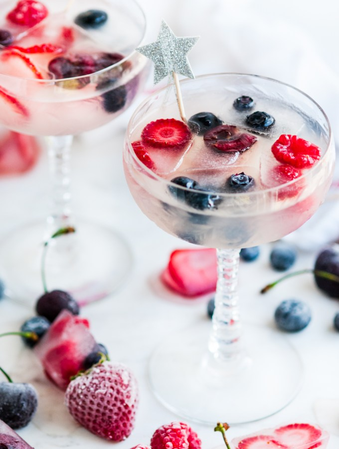 Coconut Daiquiris with Coconut Berry Ice Cubes