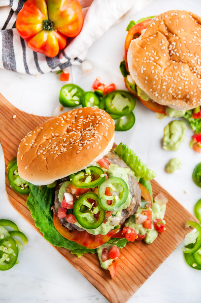 Jalapeño Pepper Jack Burgers with Garlic Avocado Aioli | aberdeenskitchen.com