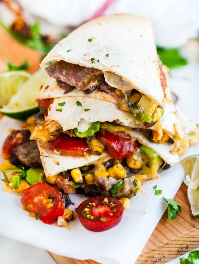 30 Minute Loaded Steak Quesadillas