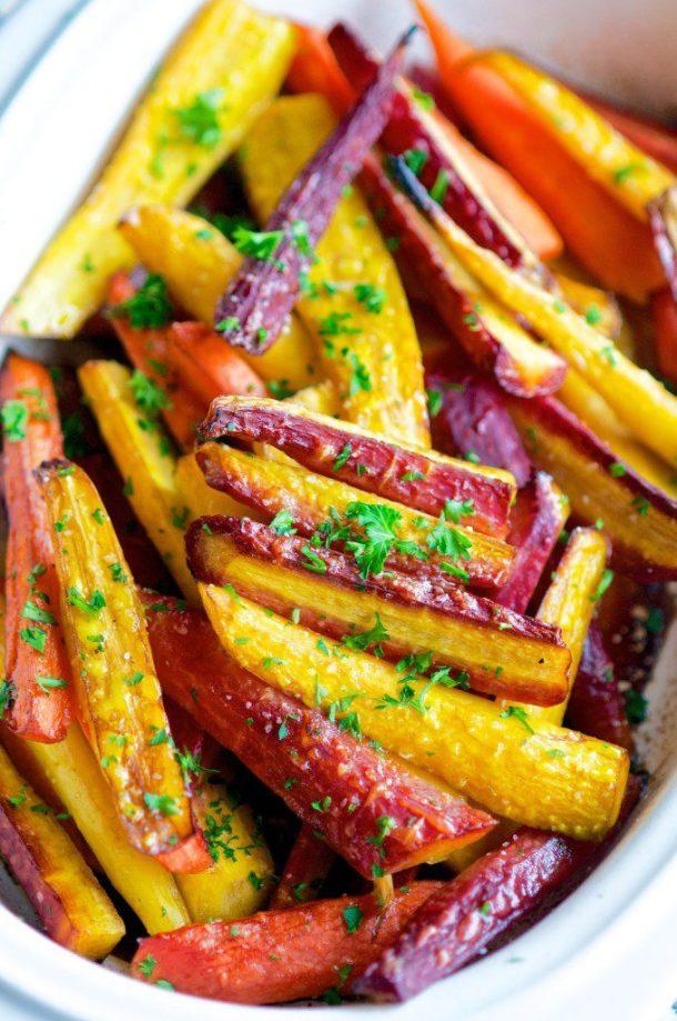 Balsamic Honey Glazed Rainbow Carrots | aberdeenskitchen.com