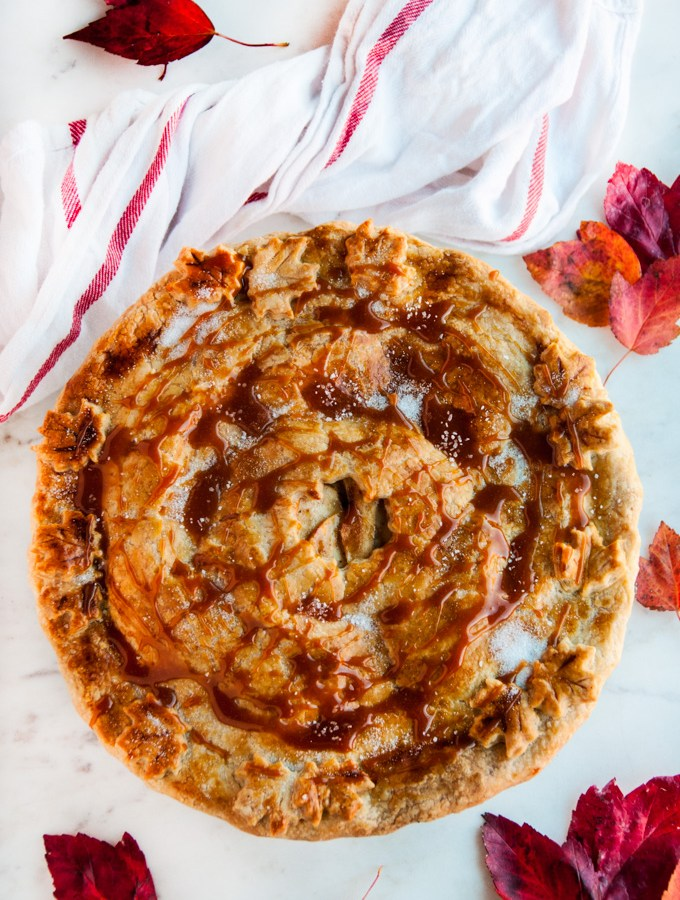 Salted Caramel Apple Pie (homemade caramel!)