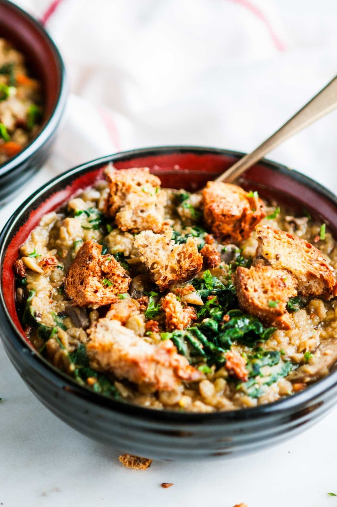 One Pot Creamy Lentil Soup with Whole Wheat Croutons | aberdeenskitchen.com