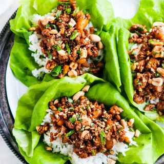 Peanut Chicken Lettuce Wraps with Jasmine Rice   aberdeenskitchen.com