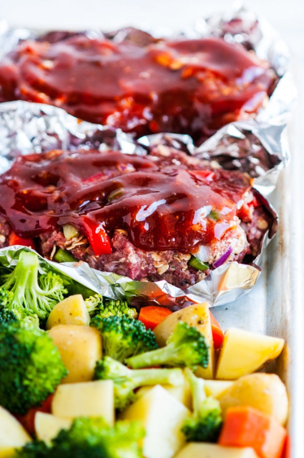 Sheet Pan Meat Loaf and Veggies uncooked