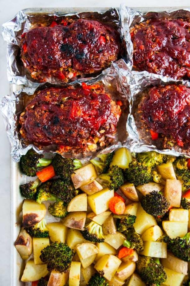 Sheet Pan Meat Loaf and Veggies