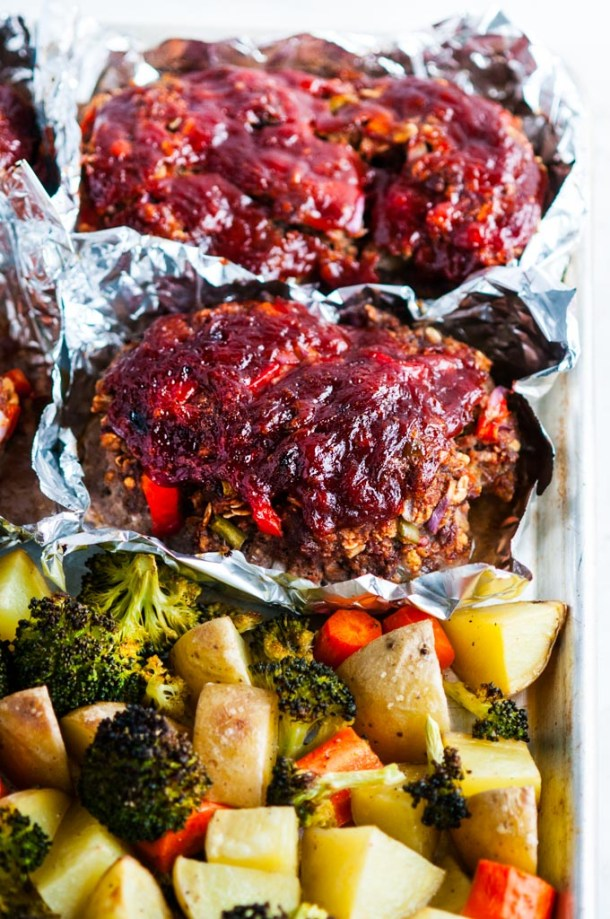 Sheet Pan Meat Loaf and Veggies in foil