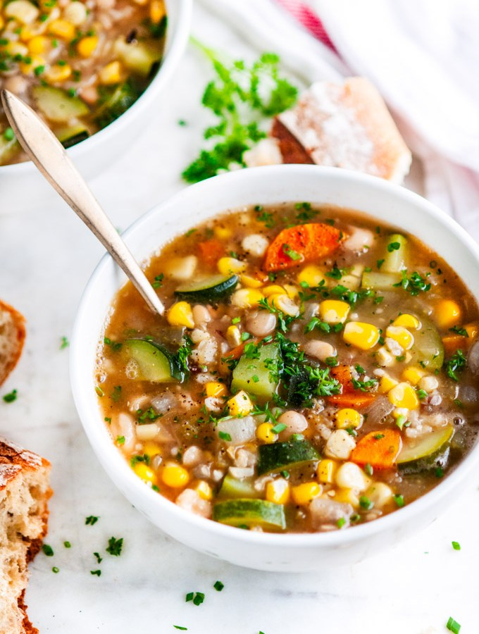 Summer Corn Zucchini White Bean Soup