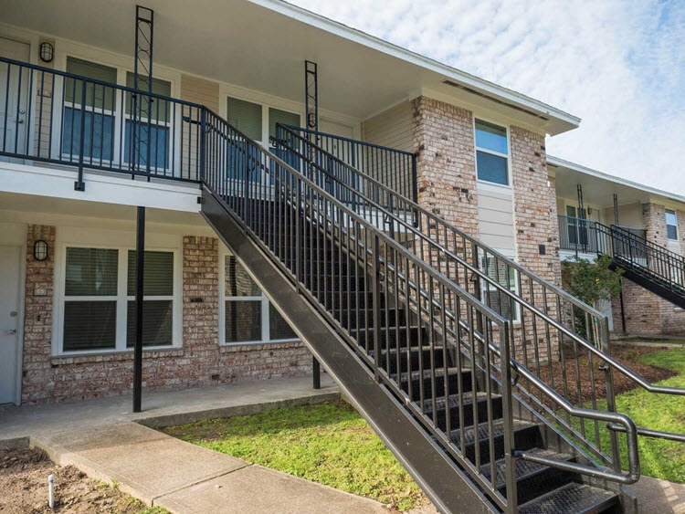 Metal Exterior Apartment Stair Installation Fire Escape Stairs   Exterior Metal Handrails For Steps   Deck Railing   Outdoor Stair   Railing Systems   Wrought Iron Railings   Concrete Steps