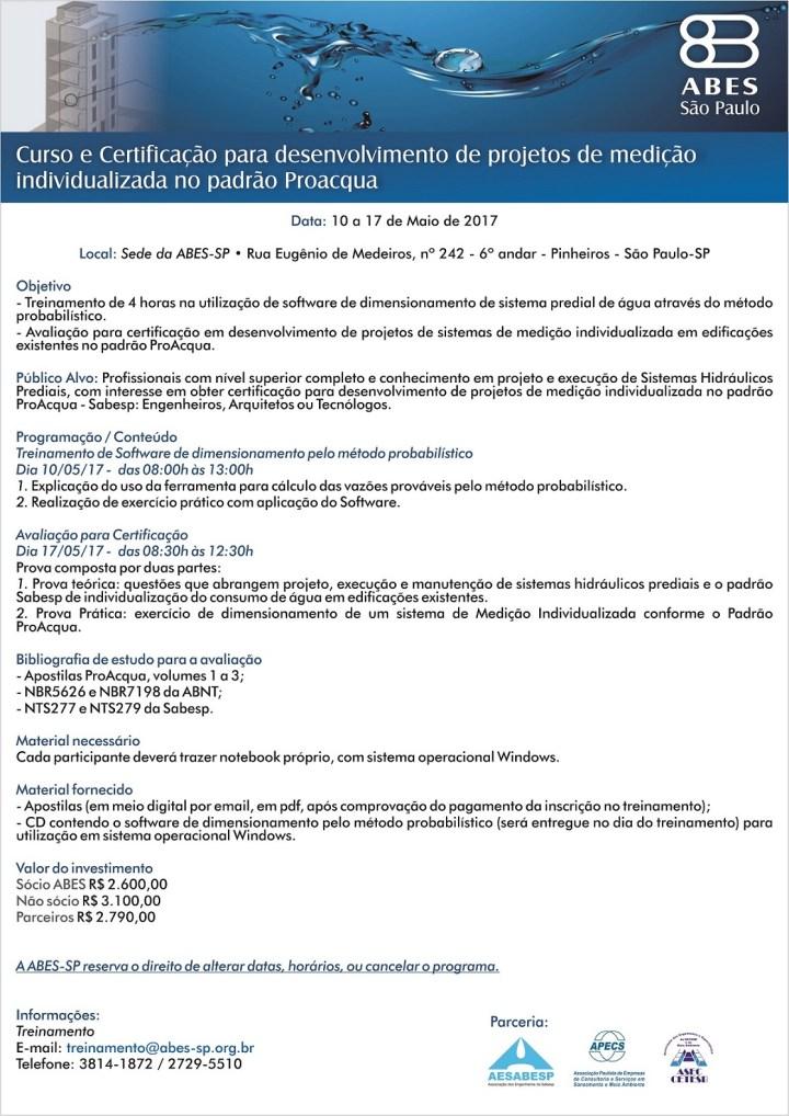 Curso e Certificação para desenvolvimento de projetos de medição individualizada no padrão Proacqua 2017 - Cópia