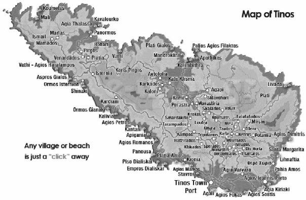 Tinos map Cyclades, Greece