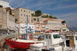 harbour on Hydra island in Greece