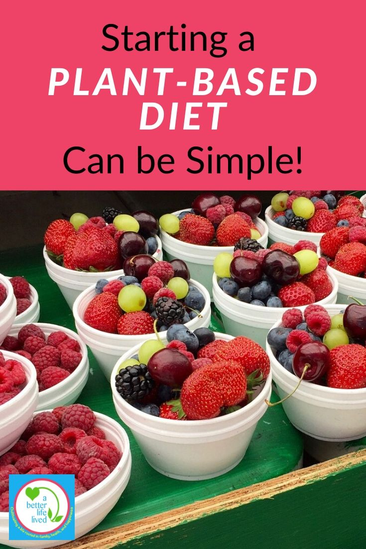 """Bowls of fruit with text overlay """"starting a plant based diet can be simple!"""""""